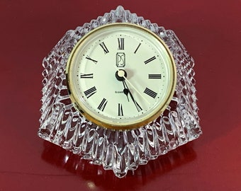"Vintage Paul Sebastian West Germany & Anna Hutte BLeiKristal 24% Lead Crystal Mantle Clock. Unique Shape, Works Perfectly, 5"" W. 3.5"" D."