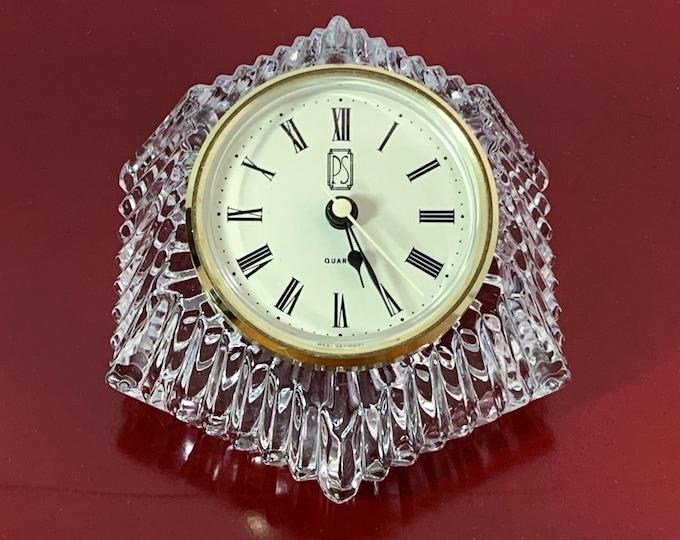 "Vintage Paul Sebastian West Germany & Anna Hutte BLeiKristal 24% Lead Crystal Mantle Clock. Unique Shape, Works Perfectly, 5"" W. 3.5"" D."
