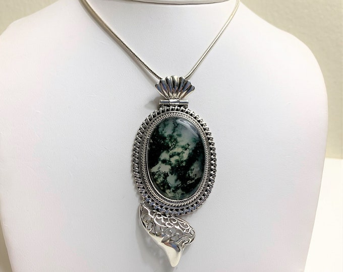 """Large Moss Agate Victorian Statement Necklace, Shades of Green, 3"""" Long Slide, 18"""" Snake Chain, Hand Crafted Original Piece."""