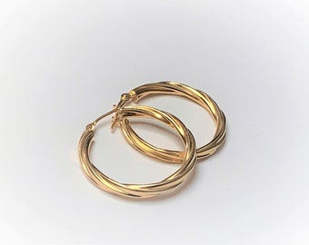 """10K Yellow Gold Twisted Hoop Earrings, 3 mm Gauge (Thick), 1"""" Diameter, 1.81 Grams. Refinished. Free US Shipping."""