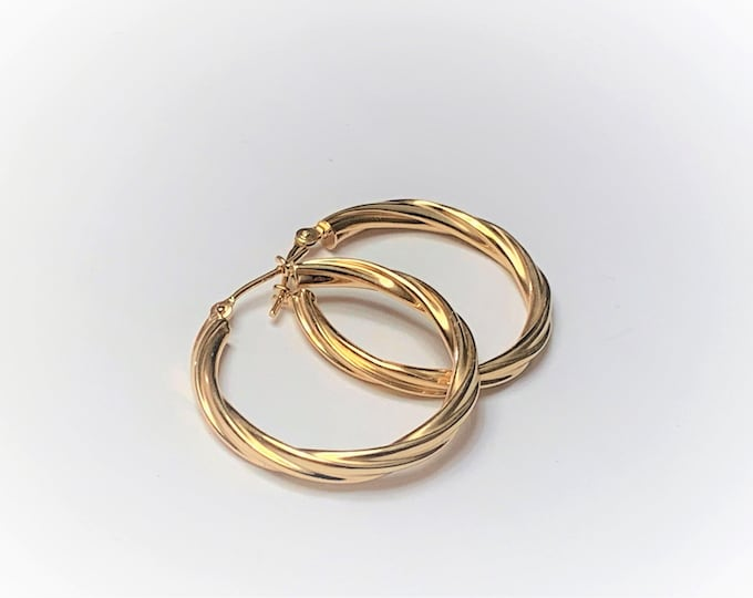 "10K Yellow Gold Twisted Hoop Earrings, 3 mm Gauge (Thick), 1"" Diameter, 1.81 Grams. Refinished. Free US Shipping."