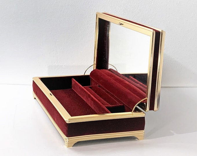 "Luxurious Velvet and Gold Tone Metal Jewelry Box, Hinged Lid W/Mirror, Rings Section, Velvet Padding, 10"" W. 5"" L, 3"" H. Free US Shipping."