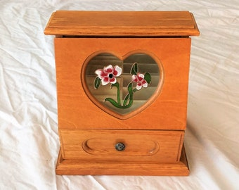 """Vintage Musical Small Jewelry Cabinet, Floral Glass Door, Mirror, Padded Sections and Drawer, Sankyo Music, 8"""" H, 7.5"""" W. Free US Shipping"""