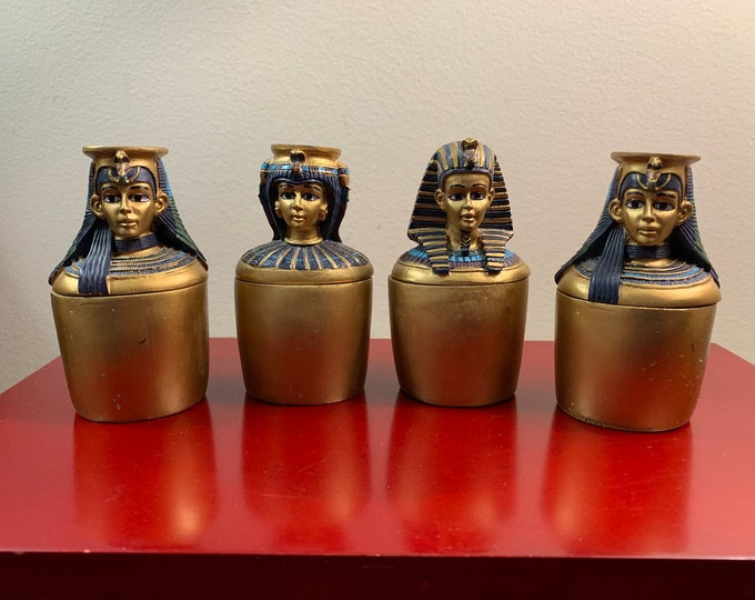 "Vintage 4 Ancient Egyptian Canopic Jars, Resin, Hand Made and Painted ""Artist's Version"", 4"" Tall - 2"" Wide, Good Condition"