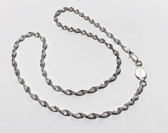"""Arguron 925 Sterling EverSilver 20"""" Twisted Diamond Cut Herringbone 4mm Chain Necklace, 10.50 Grams, Italy"""