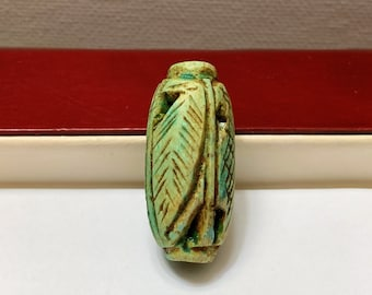 Vintage Ancient Egyptian Faience  Bead-Amulet, A Rare Amulet, Egyptian Cobra Amulet, Valley Of The Queens, Luxor - Egypt. 30 mm.