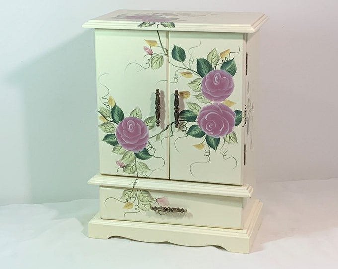 "Vintage Teamson Design Wood Jewelry Armoire, Painted Roses, 2 Doors, Padded Drawer & Walls, Hangers, Mirror. 12"" T. 9"" W. Free US Shipping."