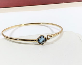 """Vintage Italian 14K Gold Over Sterling Silver Delicate Bangle, Faceted Blue Zircon, Hook Closure, 6"""" Wrist. Refinished. Free US Shipping"""