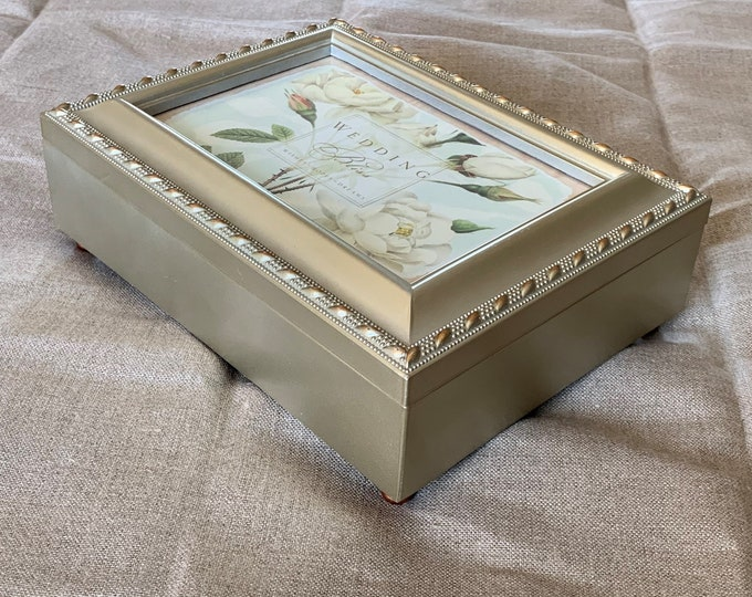 "Vintage Sankyo Music Jewelry Memory Trinket Metallic Padded Box, Ornate Photo Frame, 8"" W - 6"" D, Plays 'Can You Feel The Love Tonight'"