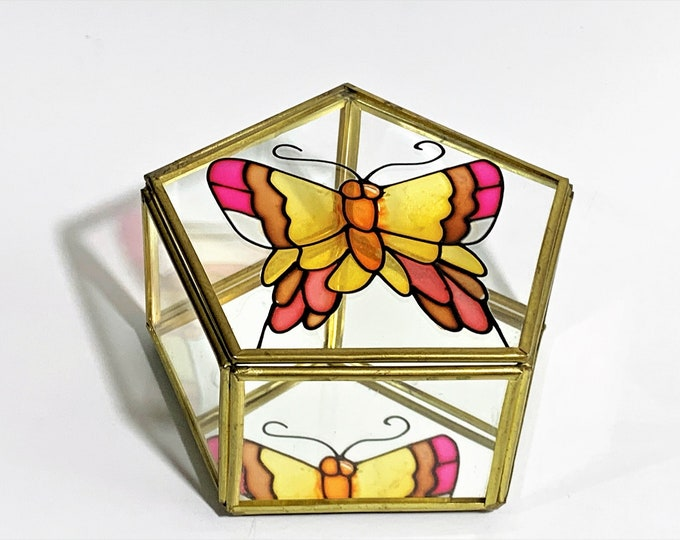 """Vintage Stained Glass Small Trinket Box, Colorful Beautiful Butterfly Little Box, , Mirror, Brass Farm, Pentagon Shape 4.5"""", Free Shipping"""