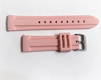 Smartwatch Rubber Sport Watch Band, Heavy Duty Flexible Water Resistant, Stainless Steel Heavy Buckle,  22 mm Lugs, Light Pink, Old Stock