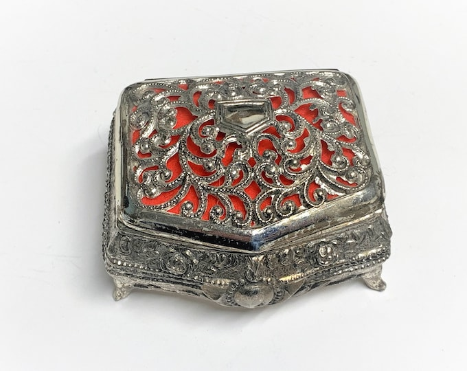 "Antique Silver Clad Small Treasure Box. Filigree Top. Raised Patterns, Red Velvet, 4 Feet 2.75"" W, 2"" L, Japan 1950's. Free US Shipping."