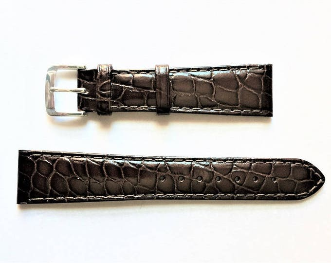 Vintage Hirsch Genuine Leather Watch Band, 20mm Lugs, Stitched Croco Grain, Dark Brown, Hypo-Allergenic buckle, Old Stock Never Used