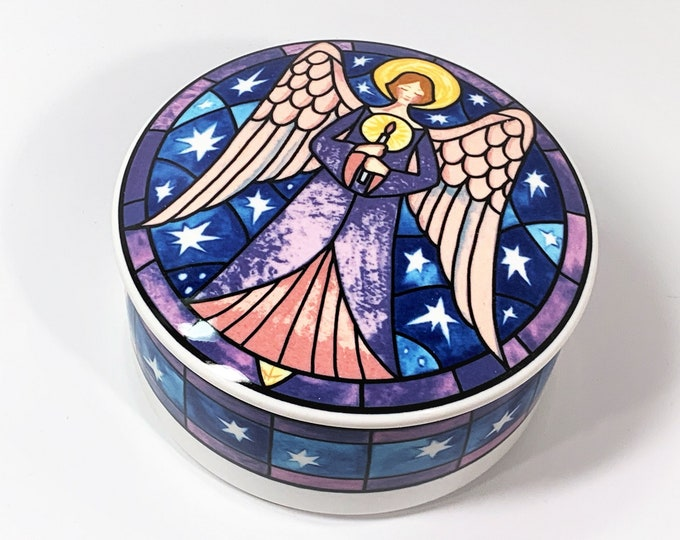 """Vintage Mikasa Angel Porcelain Trinket Jewelry Box, HK 501 Angel, 5"""" Round, Very Colorful, Mint Condition, Free US Shipping."""