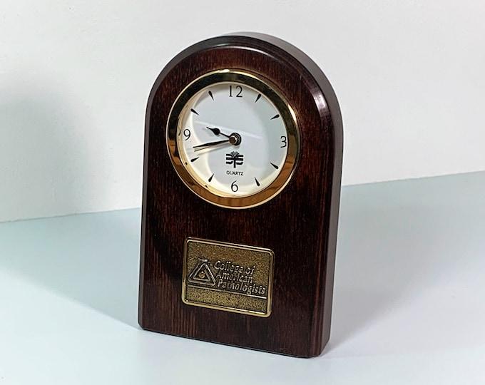 "College of Pathologists Mahogany Wood & Brass Mantel Clock. Arch Shape, Precision Quartz, 5.75"" Tall. 3.5"" W. Restored. Free US Shipping."