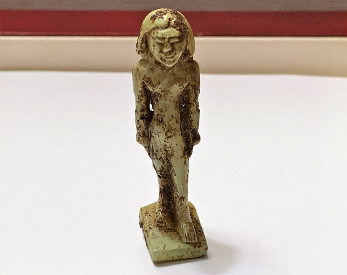 Vintage Ancient Egyptian Faience Small Statue, New Kingdom Priest, Deir el-Bahari, Upper Egypt,  Stands 40 mm (4 cm)