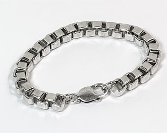 "Sterling Silver Large Heavy Box Link Bracelet, 61.20 Grams, 8"" Long, Large Lobster Claw Clasp. Hand Made."