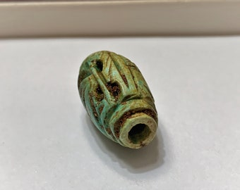 Vintage Ancient Egyptian Faience  Bead-Amulet, A Rare Amulet, Valley Of The Queens, West Thebes - Egypt. 24 mm.