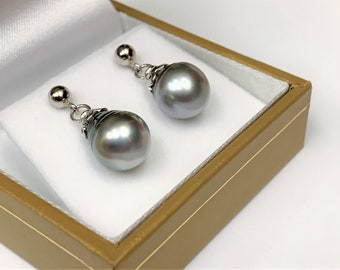 Tahitian South Sea Baroque Pearl Dangling Tincup Earrings, Platinum Shade Large Pearl 12 X 9.5 mm, Sterling Silver .925