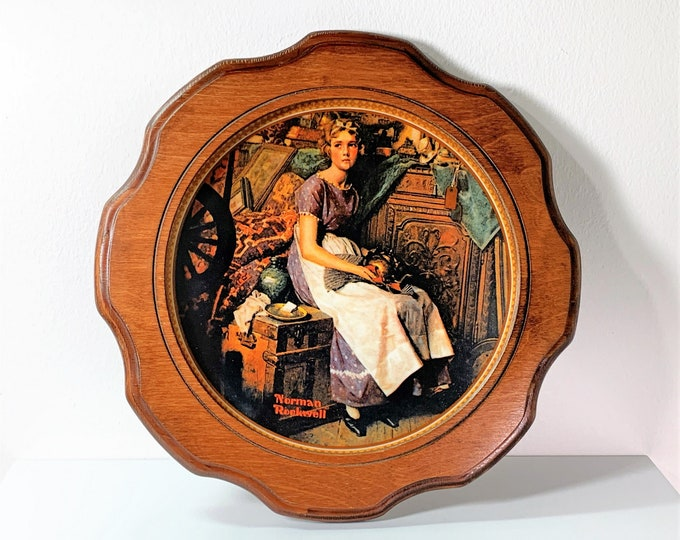 """Norman Rockwell's Rediscovered Women Collection Plate, """"Dreaming In The Attic"""", Limited Edition, Signed & Numbered, Custom Frame. 11.5"""" ."""