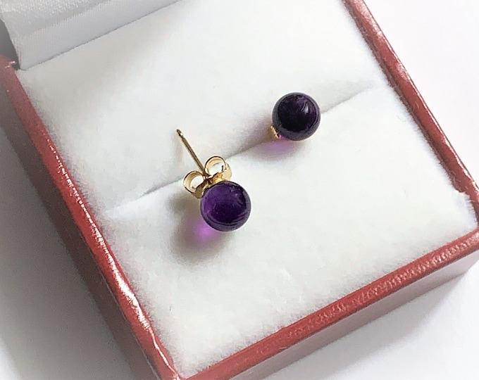 14K Yellow Gold & Purple Amethyst Gemstone 6 mm Beads Earrings, Posts with Butterfly Backs. Perfect shape Beads with Beautiful Luster.