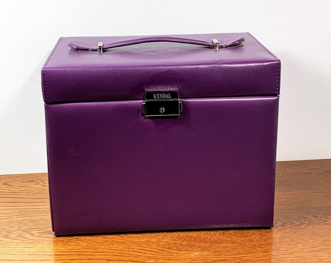 "Designer Vegan Purple Jewelry Case Storage, Many Padded Sections & Drawers. Mirror, Snap Lock, 10.5"" W. 8.5"" T. 7.5"" L. Free US Shipping"