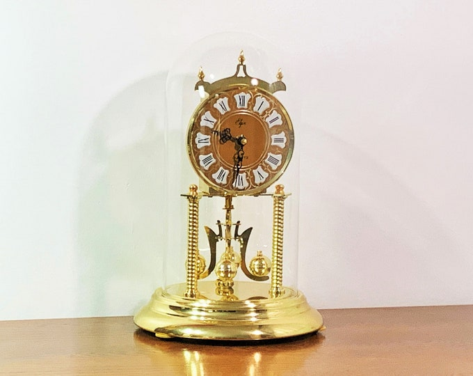 """Vintage Elgin Anniversary Clock, Colonial Dial, Glass Dome, Serpentine Hands, Rotating Pendulum, 12"""" T. 8"""" Base, Mint, Japan, Free Shipping"""