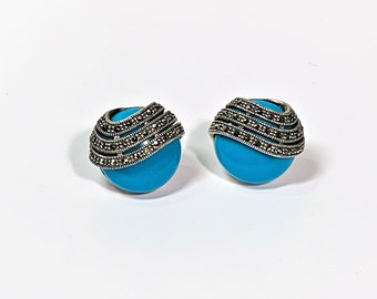 """Sterling Silver Marcasite & Blue Turquoise Composition Earrings, European Leaver Backs, 19mm - 3/4"""" Diameter, 1980's. Free US Shipping."""