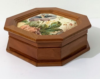 """Vintage Solid Wood hexagon Shape Jewelry Box, Colorful Canvas Floral Pattern Top, Mirror, Padded Section, 6.5"""" W. 6.5"""" D. 2.5"""" H. Nice"""