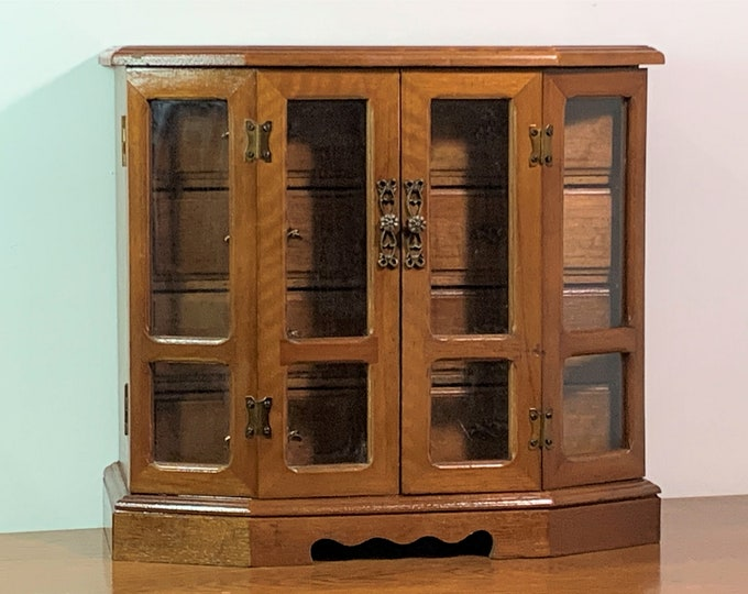 "Vintage Farrington Japan Fine Woods Large Jewelry Cabinet Armoire , 2 Double Doors, 8 Padded Drawers, 13"" W. 12"" T. Restored & Finished."