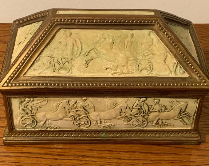 "Antique Dini E. Cellai Signa Bronze & Terracotta Rare Italian Collectible Trinket Memory Box, Circa 1910. Signed - Numbered. 8.5"" W. 5"" D."