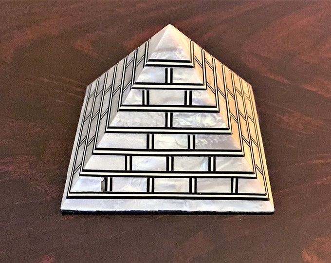 "Vintage Hand Made Egyptian Pyramid, Inlaid Mother Of Pearl Sheets, Old Cairo Craftsmanship, 3"" - 7 cm,  Positive Energy"