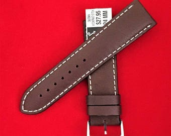 Vintage Speidel Genuine Leather Watch Band, 24 mm Lugs, Padded Stitched Water Resistant, Heavy Duty, Dark Brown, Old Stock Never Used