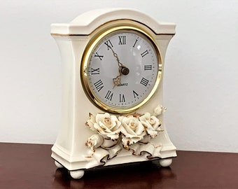 """Avon Floral Porcelain Clock, 3D Roses, Cream and Gold, Large Dial W/Ornate Gold Hands, 6.25"""" T. 4"""" W. 2"""" D, Mint Condition, Free US Shipping"""