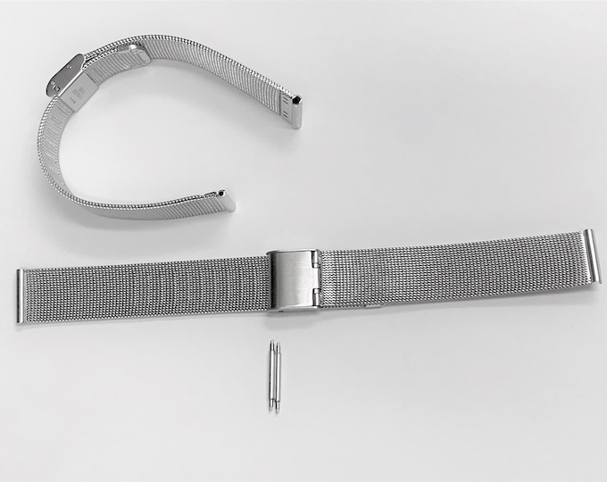 Vintage Stainless Steel Mesh Watch Band, Flex, 12 - 14 - 16 - 18 - 20 - 22  mm Lugs, Box Clasp, New Old Stock