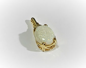 10K Yellow Gold Australian Opal Pendant, White Flash Fire, Play Of Color, One Small Diamond, Oval Cabochon 12X10 mm, 2.60 Carats, Nice