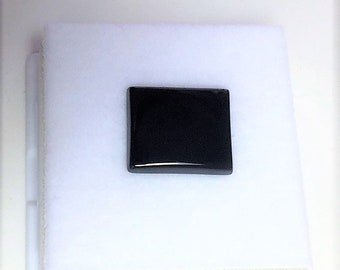 Genuine High Grade Black Onyx Gemstone, 13X11 mm Octagonal Shape, High Polished, Slightly Domed