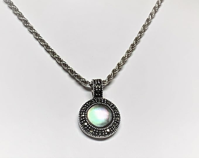 """Vintage Sterling Silver Marcasite Abalone Slide, 1"""" drop with 18"""" Solid Rope Chain, Italy. 11.20 Grams, Refinished. Free US Shipping"""
