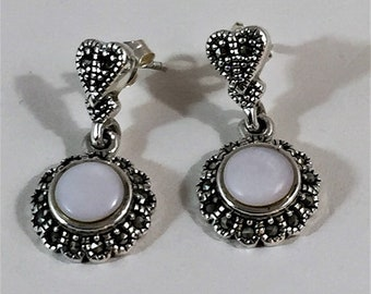 """Sterling Silver Marcasite and Mother of Pearl Dangle Earrings, Beautifully Crafted, 1 1/8"""" - 28mm Long, 1/2"""" CIRCLE"""