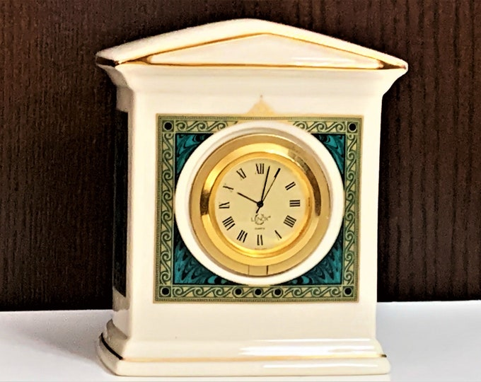 "Vintage Lenox Mediterranean Classic Porcelain Clock, Made in USA Retired Edition, Gilt Edges W/ Malachite Green, 4"" T. 3.5"" W. Serviced."