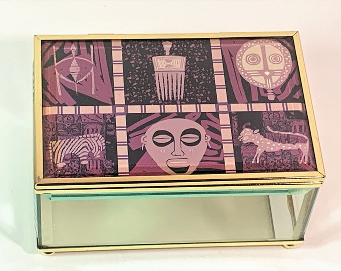 """Vintage Tempered Glass & Brass Trinket Box, Contemporary Art on Hinged Lid, Mirror Inside Bottom,, 6"""" W. 4"""" L. 3"""" H. Nice. Free US Shipping"""