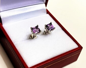 14K White Gold Rose De France Purple Amethyst Studs, Princess Cut Natural Amethyst 5mm, 1.17 carat T.W
