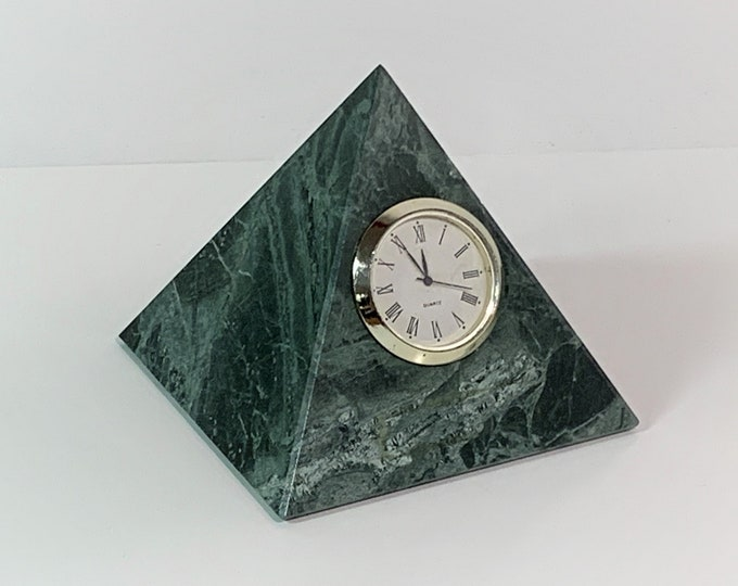"""Green Marble Pyramid, Precision Quartz Clock, Perfect Symmetry Pyramid, 3.25"""" Base and 3.5"""" Angles, Excellent Condition, Taiwan"""