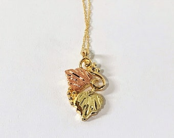 """10K Tri-Color Black Hills Gold Necklace, Traditional Grapes & Leaves Pendant, 18"""" Chain. 2.10 Grams. Free US Shipping."""