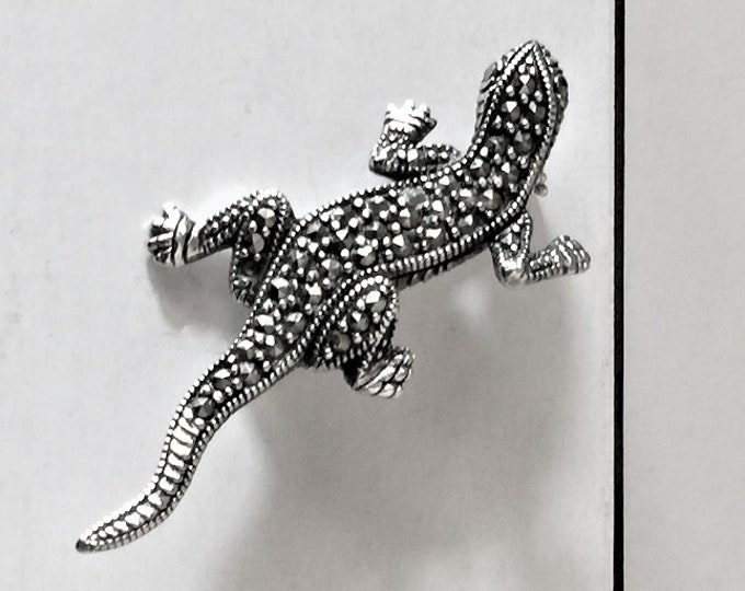 "Vintage Sterling Silver Marcasite Lizard Brooch, Beautifuly Crafted, 2"" - 50 mm Long"