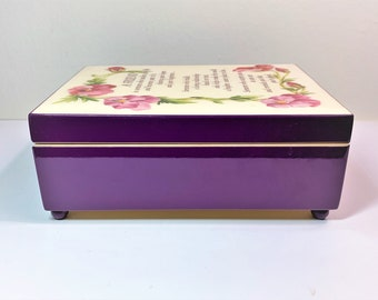 """Vintage Sankyo Inlaid Varnished Music Box """"You've Got a Friend"""", 1990 Summit Collection Exclusive, Padded and Natural Wood Interior, 7""""X5"""""""