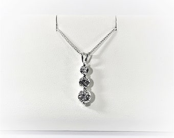 """Sterling Silver 3 Stone Necklace, Round Brilliant CZ 6 - 5 - 4mm, 1"""" Long Pendant, 18"""" Box Chain (Italy), Free US Shipping."""