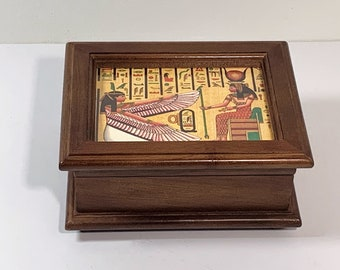 """Collectible Romance By Reuge  Swiss Music Box, """"The Wind Beneath My Wings No 6244"""", Hand Crafted Walnut, Added Egyptian Touch, 6.25"""" W. 3"""" H"""