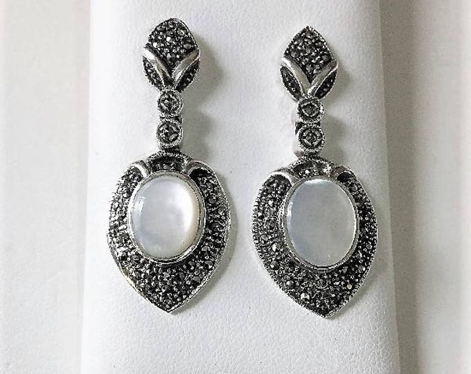 """Vintage Elegance, Sterling Silver Marcasite and Mother of Pearl Dangle Earrings, Beautifully Crafted, 1 3/4"""" - 42mm Long"""