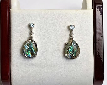 """Sterling Silver Abalone and Aquamarine Drop - Dangle Earrings, Cabochon Teardrop Abalone 14 X 10 mm, 7/8""""- 22mm Long, Colorful"""